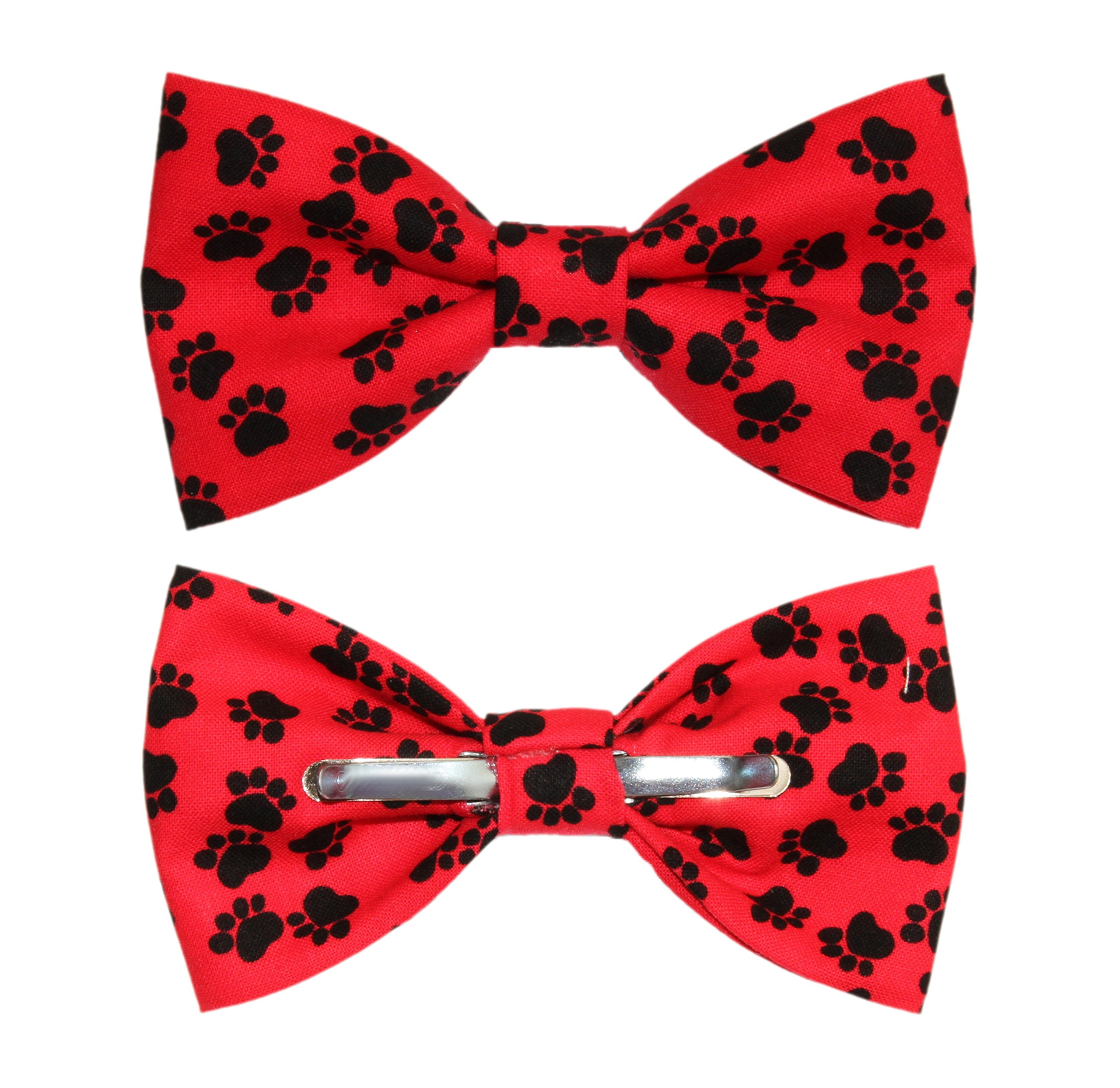 amy2004marie Men's Red With Black Paw Prints Clip On Cotton Bow Tie Bowtie