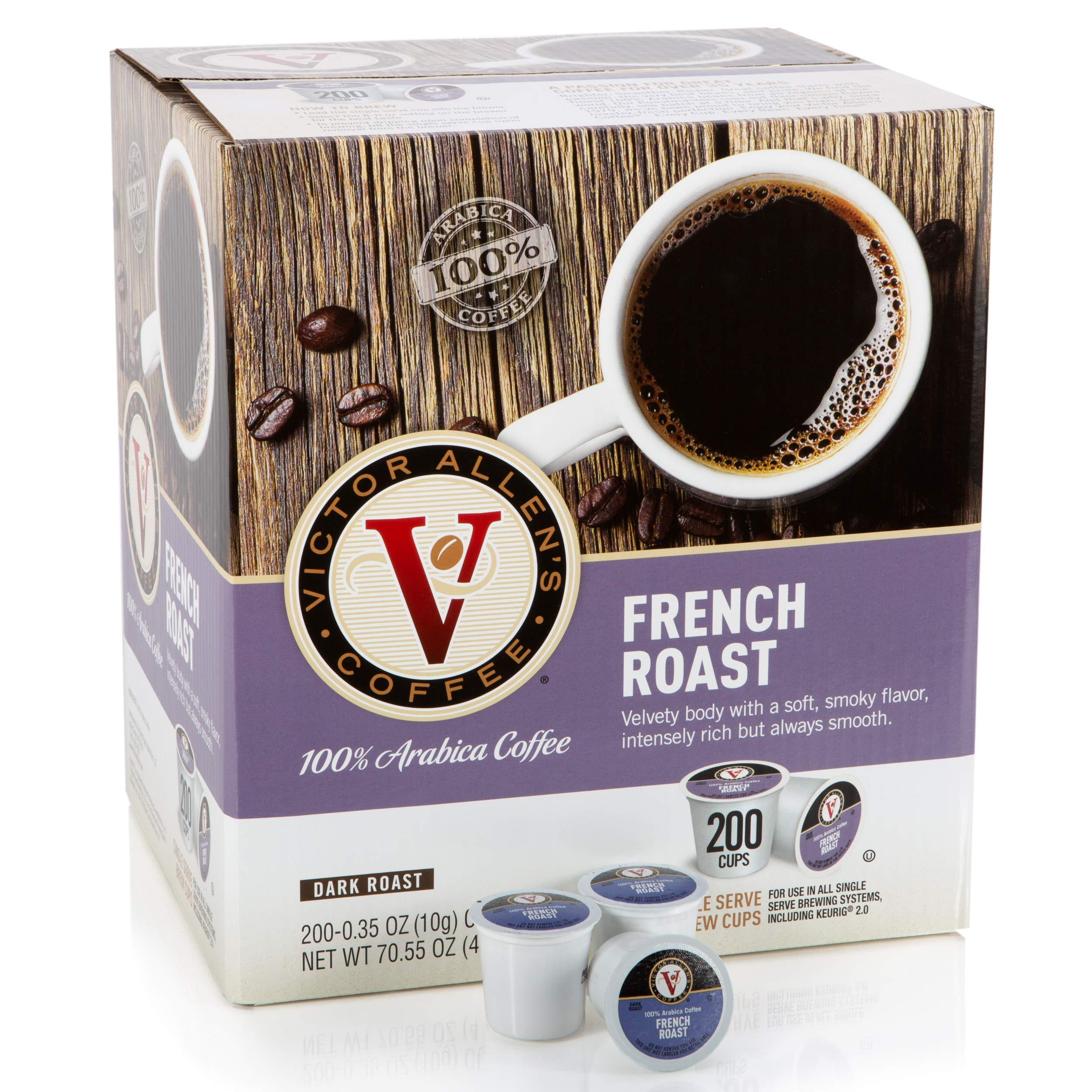 Victor Allen Coffee, French Roast Single Serve K-cup, 200 Count (Compatible with 2.0 Keurig Brewers) by Victor Allen (Image #1)