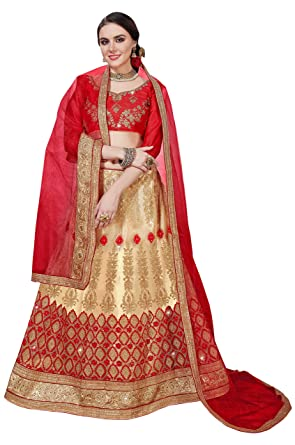 e302488bb85 Manvaa Women S Net Embroidered Lehenga Choli In Beige Color  Amazon ...