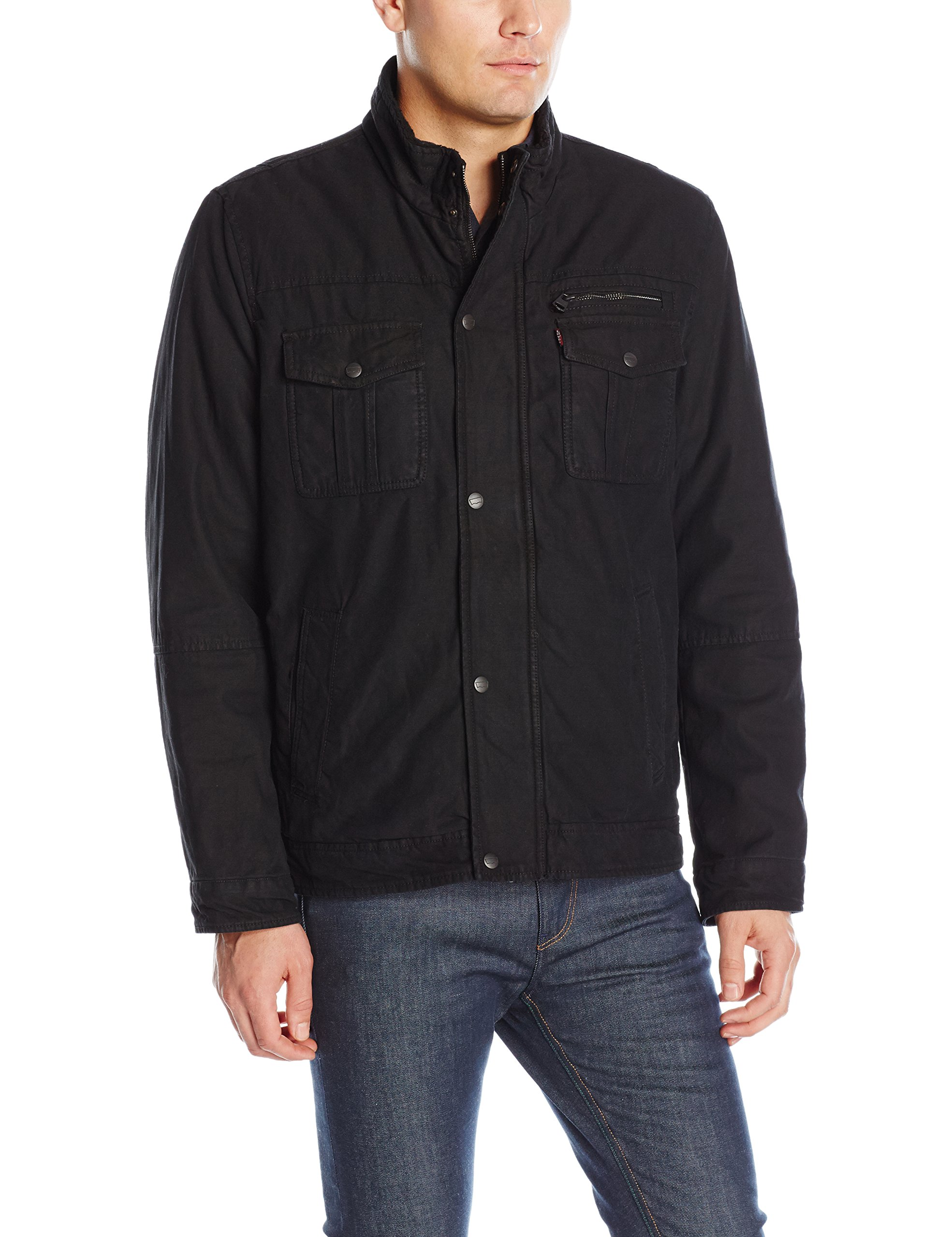 Levi's Men's Washed Cotton Two Pocket Sherpa Lined Trucker Jacket, Black, M by Levi's
