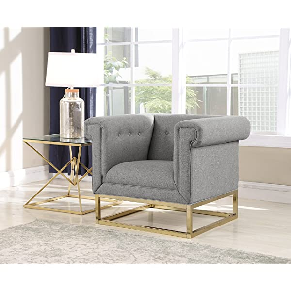 Iconic Home Palmira Accent Club Chair Button Tufted Linen-Textured Plush Cushion Brass Finished Brushed Metal Base Frame, Modern Transitional, Grey