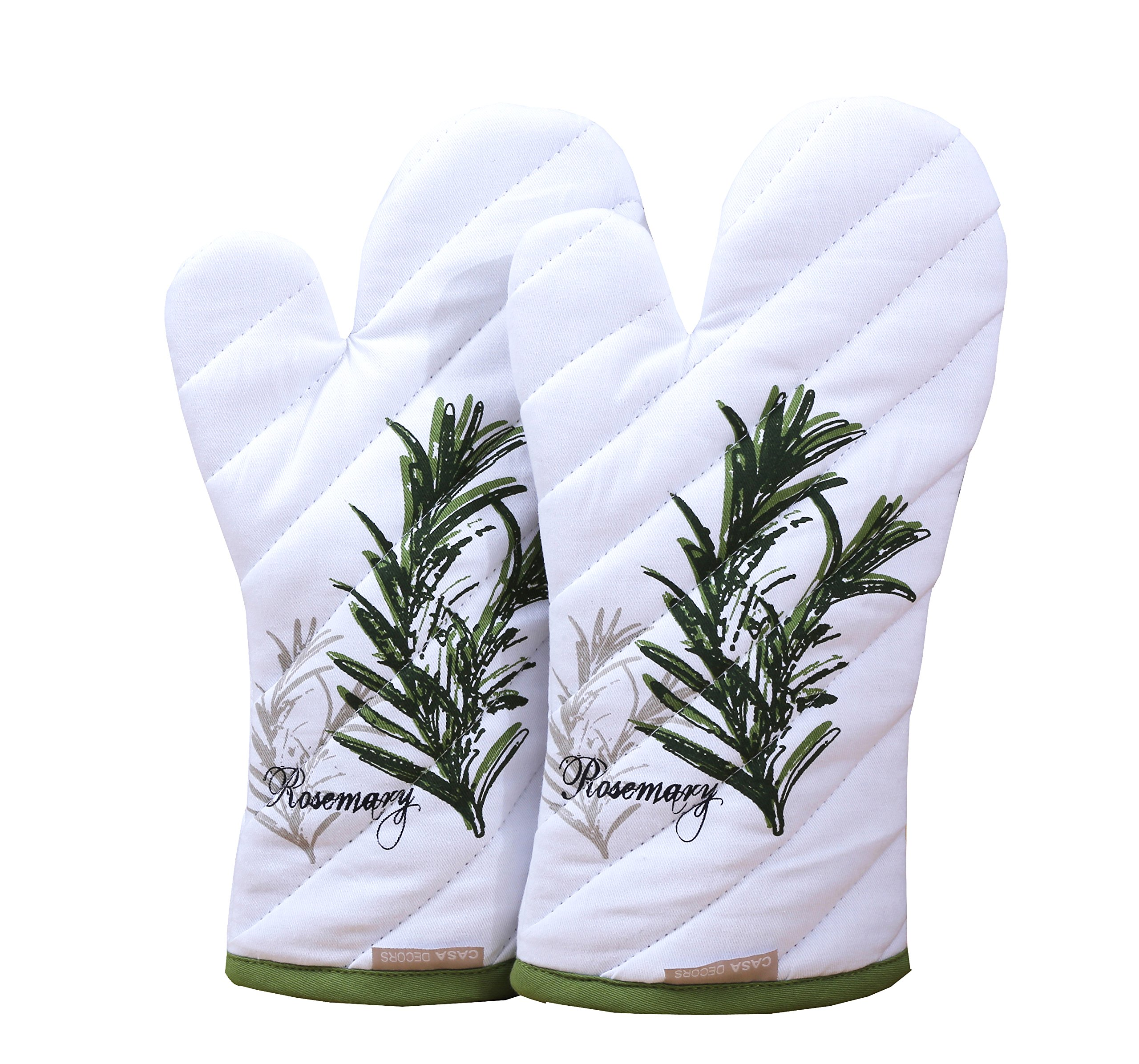 Oven Mitts, Unique Herb Garden Design, Oven Mitts Heat Resistant, Made of 100% Cotton, Eco-Friendly & Safe, Set of 2, Oven Mitt size 7 x 13 Inches , Machine Washable, Kitchen Oven Mitts By CASA DECORS