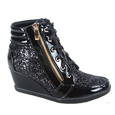 e4dccf28f044 Forever Link Peggy-44 Women s Fashion Glitter High Top Lace Up Wedge  Sneaker Shoes (