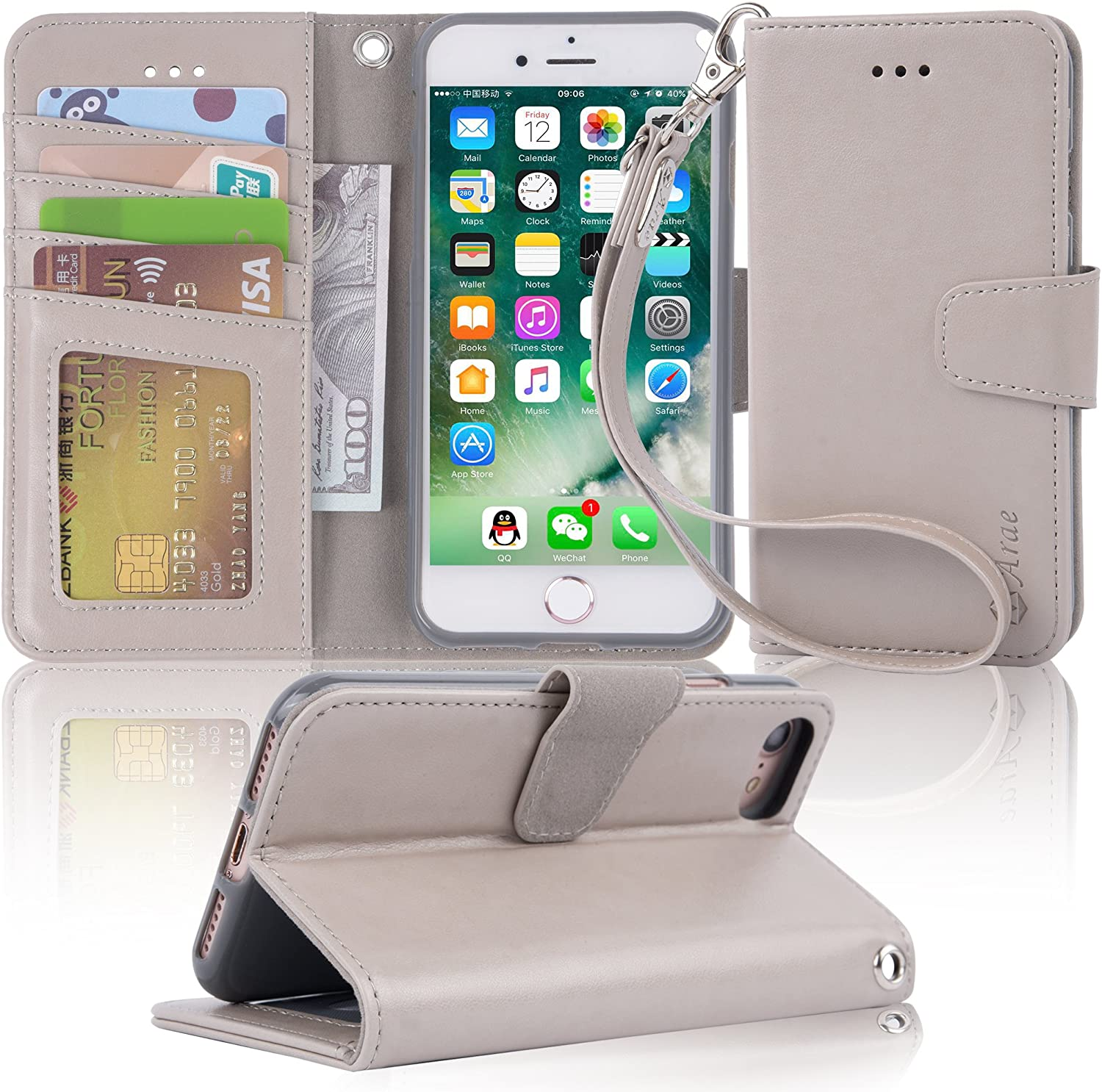 Arae Case for iPhone 7 / iPhone 8 / iPhone SE 2020, Premium PU Leather Wallet Case with Kickstand and Flip Cover for iPhone 7 / iPhone 8 / iPhone SE 2nd Generation 4.7 inch - Light Grey