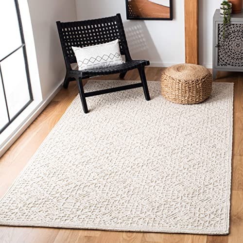 Safavieh Trace Collection Light Beige Premium Wool Area Rug, 4 x 6 ,