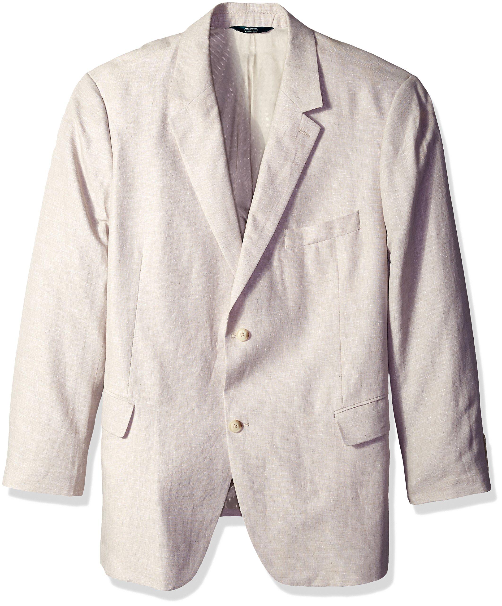 Perry Ellis Men's Big and Tall Linen Two-Button Notch Lapel Jacket, Natural Linen, 50 Long