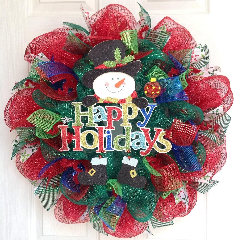 Snowman Wreath Deco Mesh Multi-Color