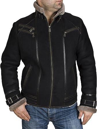 d68086abeccb4 Zavelio Men s Genuine Shearling Sheepskin Aviator Vintage Winter Jacket  (Small