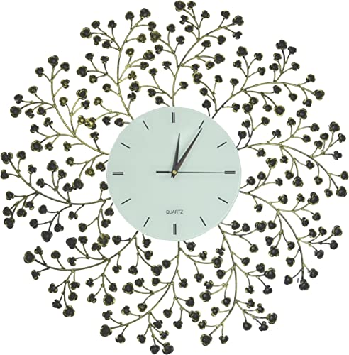 Lulu Decor, 24.50 Spring Blooms Decorative Metal Wall Clock with Golden and Black Metal Frame White Lines Dial