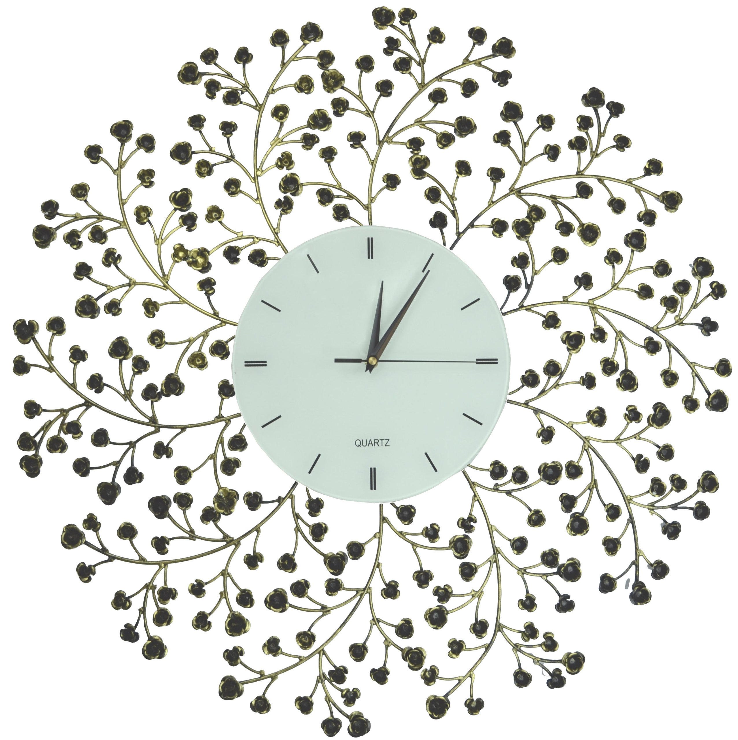 Lulu Decor, Spring Blooms, Lines Dial, Decorative Metal Wall Clock, Golden and Black, Size 24.50 by Lulu Decor