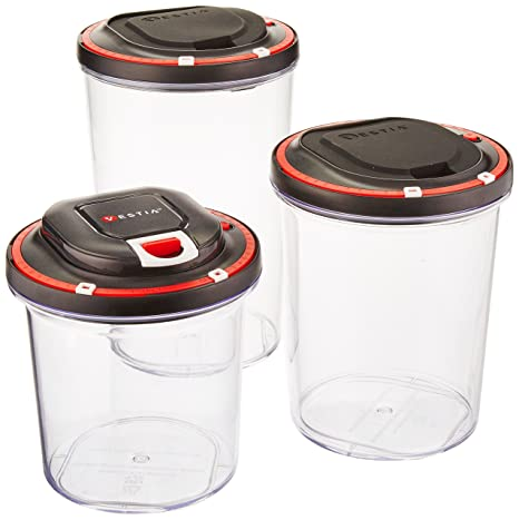 Amazon.com: Vestia Automatic Vacuum Sealing Food Storage Container System  (Set Of 3) (Motor Included): Kitchen U0026 Dining