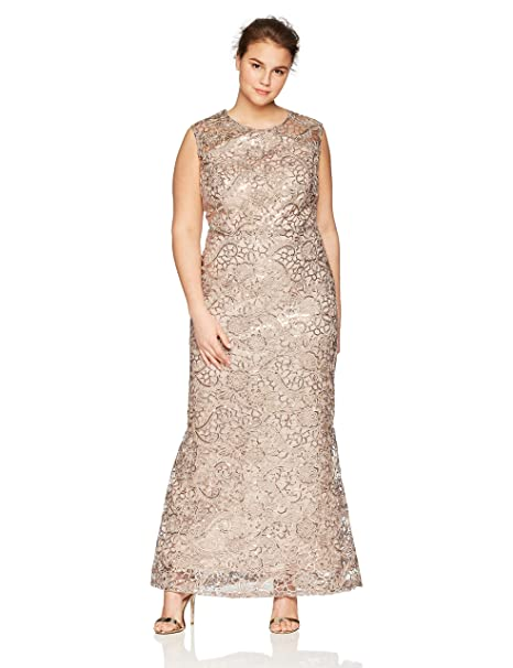 Ignite Women\'s Plus Size Sequined Lace Gown Dress
