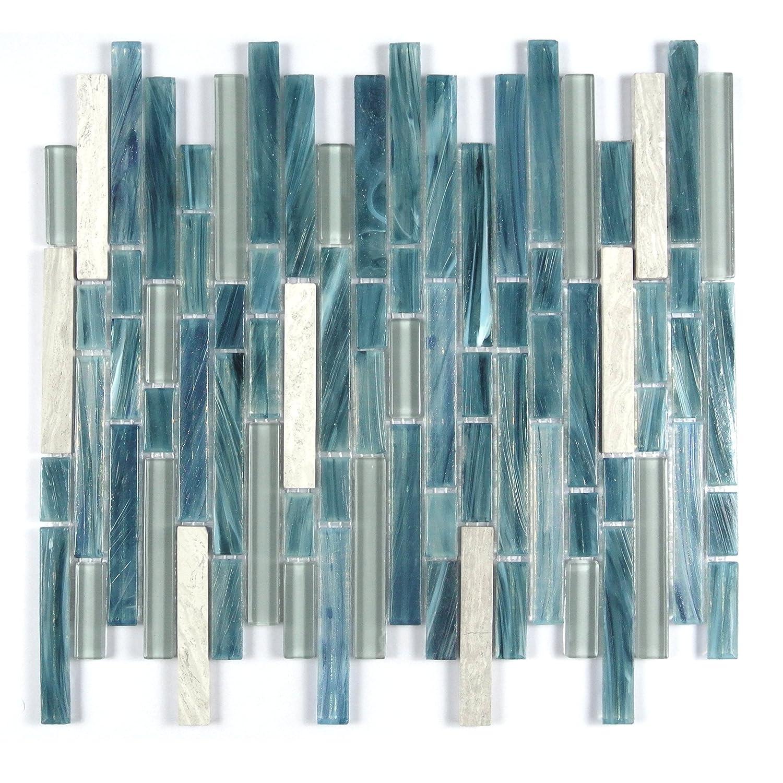 Abolos WHSIHBLNR-CF Stone & Glass Linear Mosaic Tile, Bathroom Walls ...