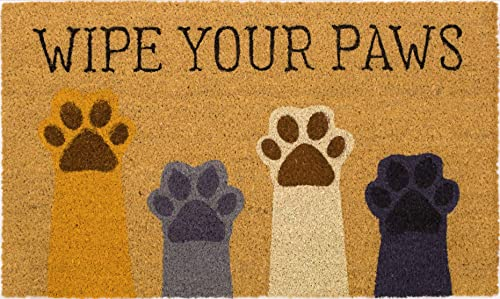 Wipe Your Paws Door Mat, All Natural Coir Fiber with PVC Backing, 17×29 ADW032