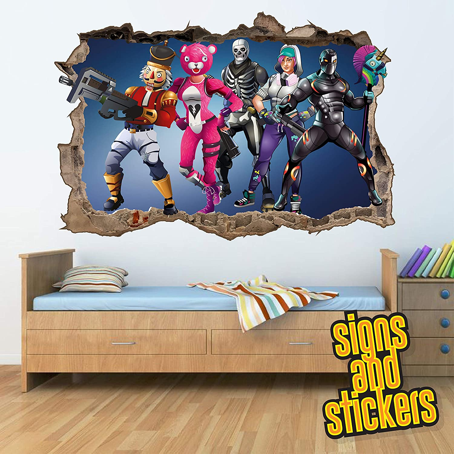 Fortnite square wall break wall stickers for kids boys girls bedroom fortnite text gam gaming room stickers decals wall art high qualty vinyl large