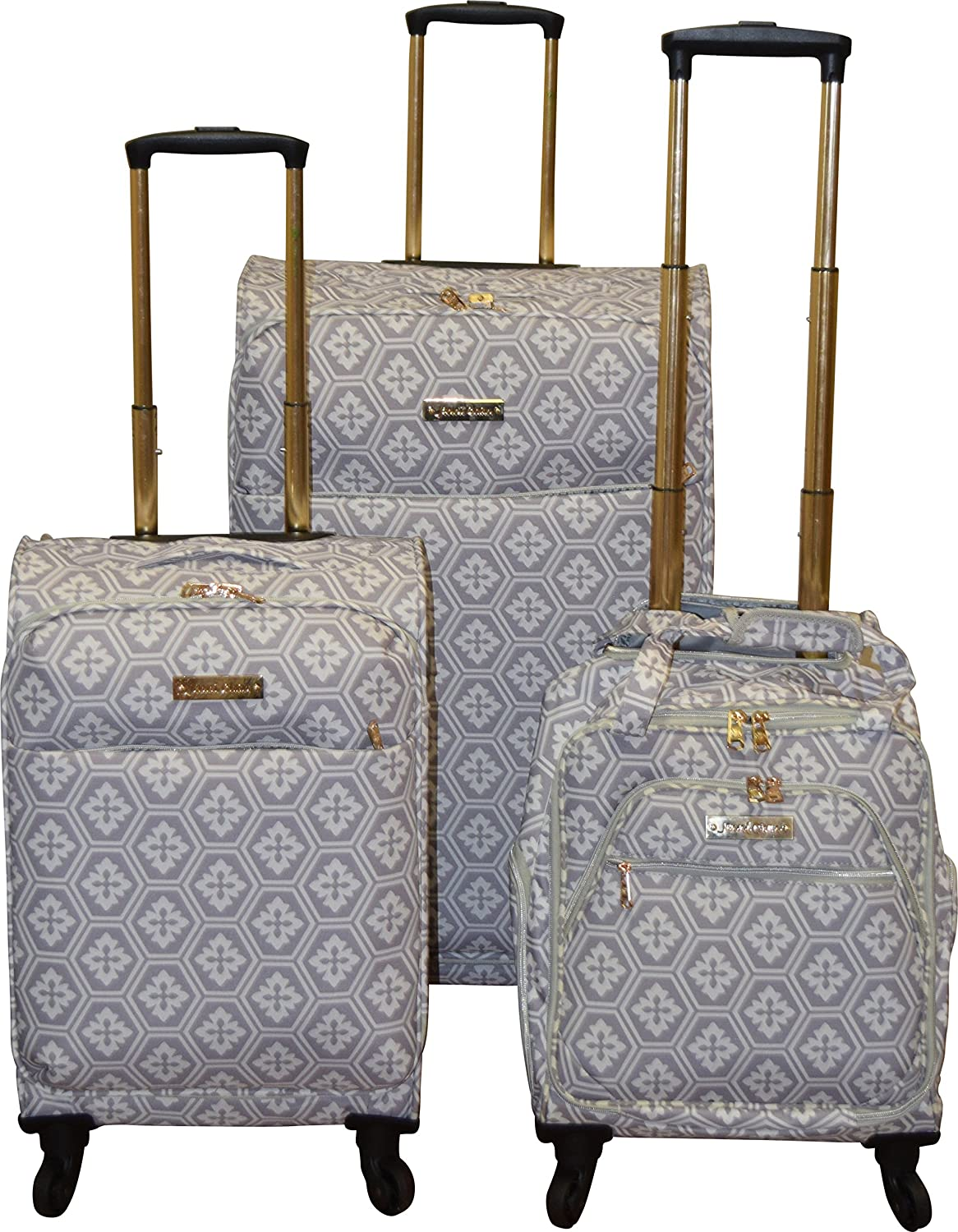 be5e2e62f6f7 Jenni Chan Snow Flake Collection Lightweight 3-PC Spinner Luggage Set (Grey)