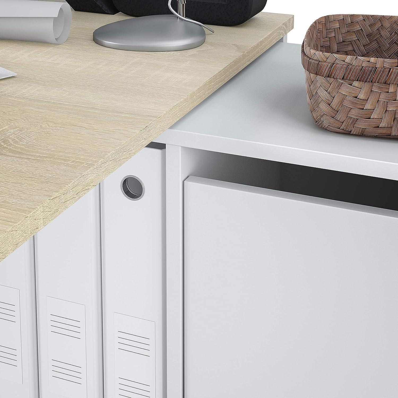 Estudio Modelo Adapta XL Mesa Escritorio Habitdesign Gris Cemento y Blanco Artik Medidas: Mesa despacho Reversible