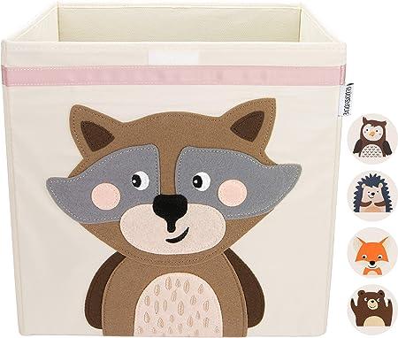 GLÜCKSWOLKE Caja Almacenaje Infantil - Motivo Mapache I Baules Juguetes I Cubo Organizador (33x33x33) Cuarto de Niños I Contenedor Habitacion Niñas I Cesto Dormitorio Bebe: Amazon.es: Hogar