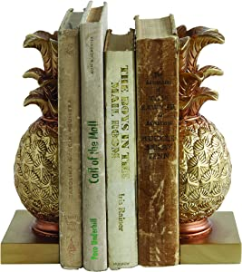 Creative Co-op Pineapple Shaped Gold Resin Bookends (Set of 2 Pieces)