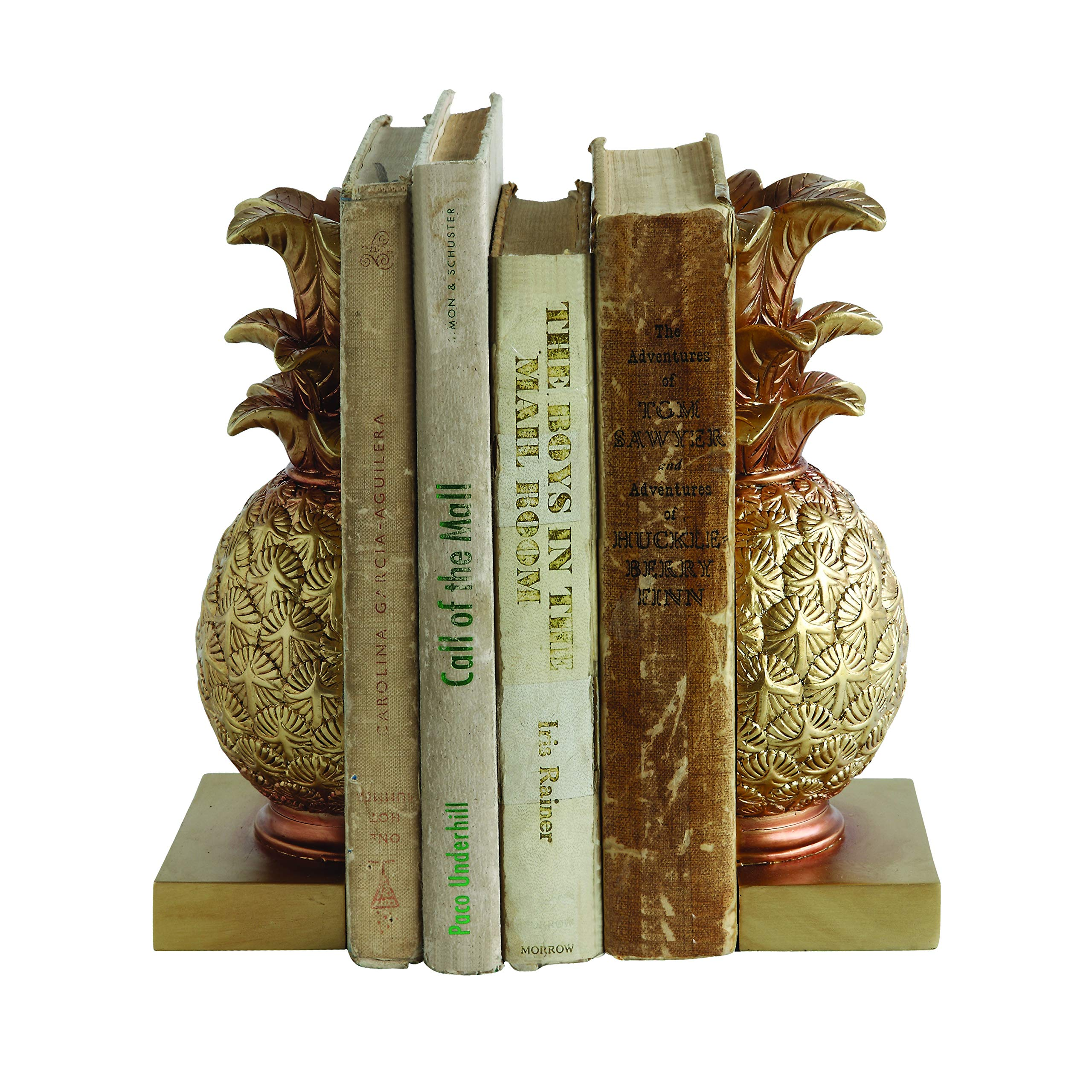 Creative Co-op Pineapple Shaped Gold Resin Bookends (Set of 2 Pieces) by Creative Co-op