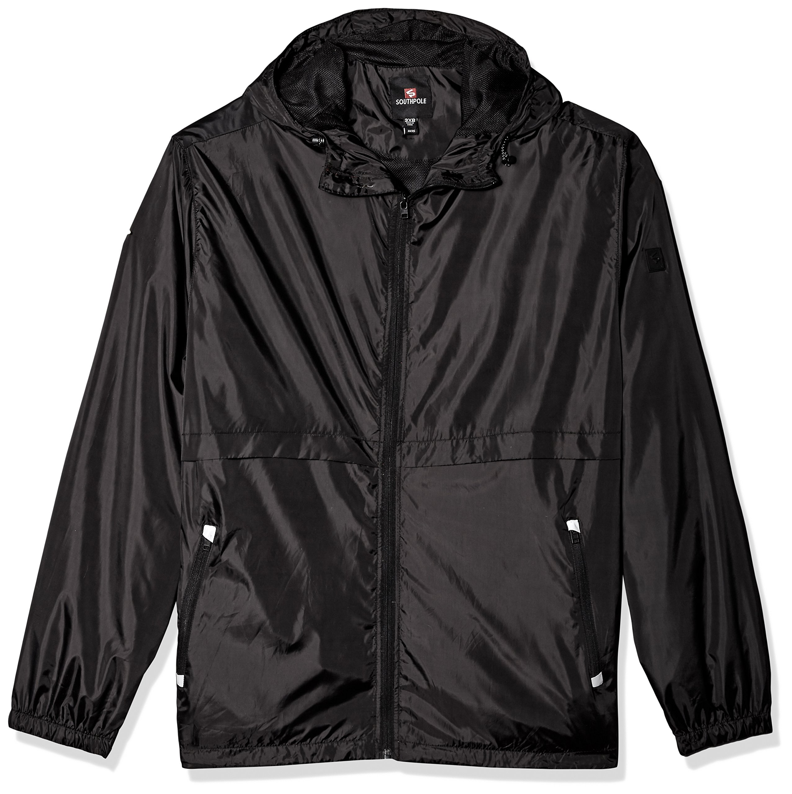 Southpole Men's Water Resistance Hooded Windbreaker Jacket, Black, Large by Southpole