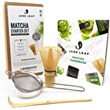 Jade Leaf - Traditional Matcha Starter Set - Bamboo Matcha Whisk (Chasen), Scoop (Chashaku), Stainless Steel Sifter, Fully Printed Handbook - Japanese Tea Set