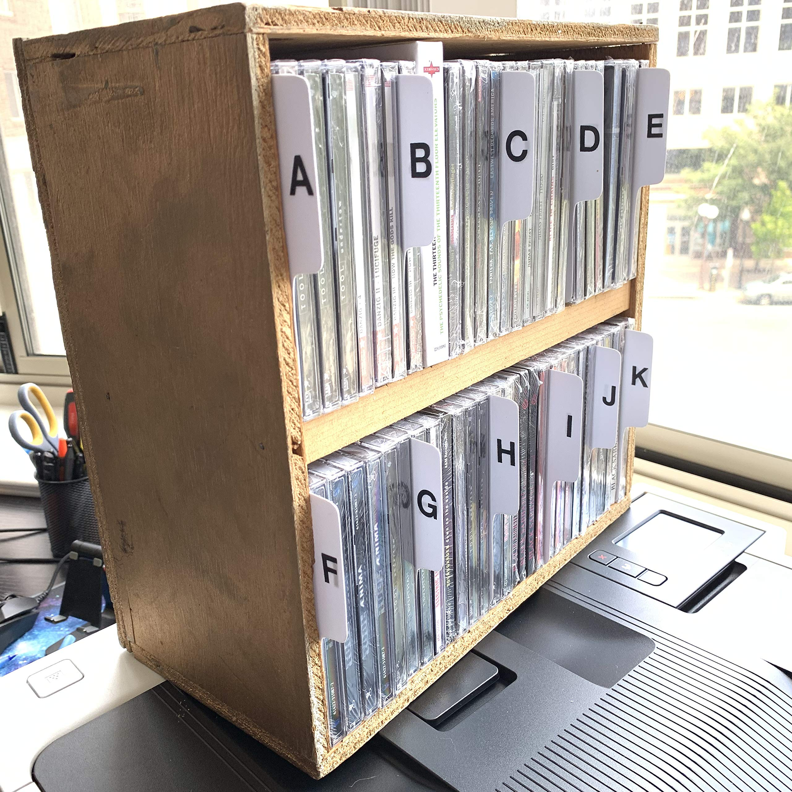 A to Z White Vertical CD Dividers with Black Vinyl Alphabetical Lettering C.D. Compact Disc Tabbed Professional A-Z Alphabet Cards/CDs/CD's (Double Sided Lettering - Left & Right Facing Lettering)