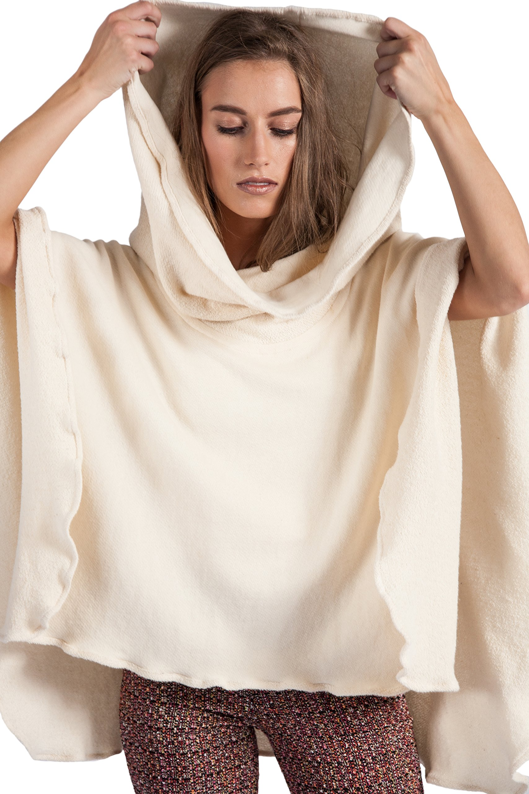 HOODIE PONCH Heidi Hess Designer Poncho Sweater Converts Into Scarf, Hoodie or Top - Cream, One Size