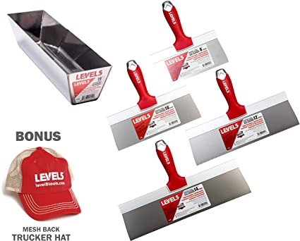 Pro Grade Stainless Steel Taping Knife Set - Bonus Free Hat | Drywall Tool Blades,