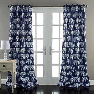 "Lush Decor Elephant Parade Curtains Floral Animal Print Design Window Panel Drapes Set for Living, Dining, Bedroom (Pair), 84"" x 52"", Navy"