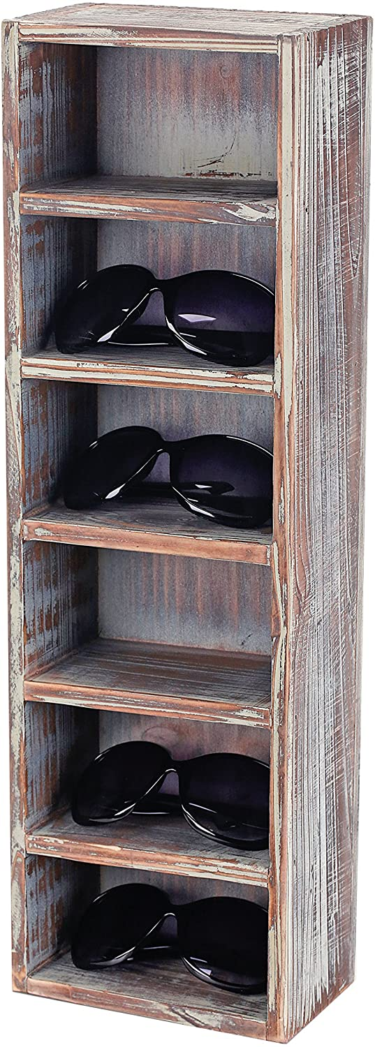 MyGift 6-Slot Rustic Torched Wood Wall Mounted Vertical Storage Sunglasses Display Case Stand