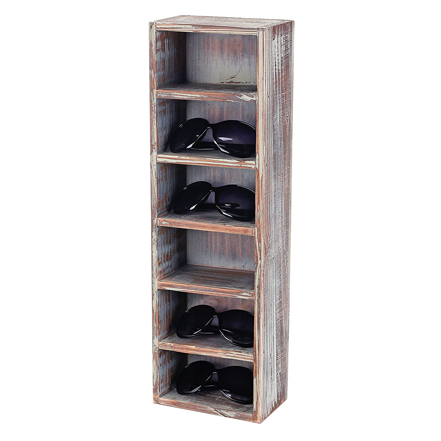 6-Slot Rustic Wooden Wall Mounted Vertical Storage Sunglasses Display Case Stand MyGift