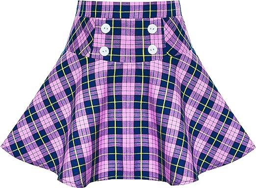 Sunny Fashion Girls Skirt Back School Uniform Red Tartan Skirt Size 6-14