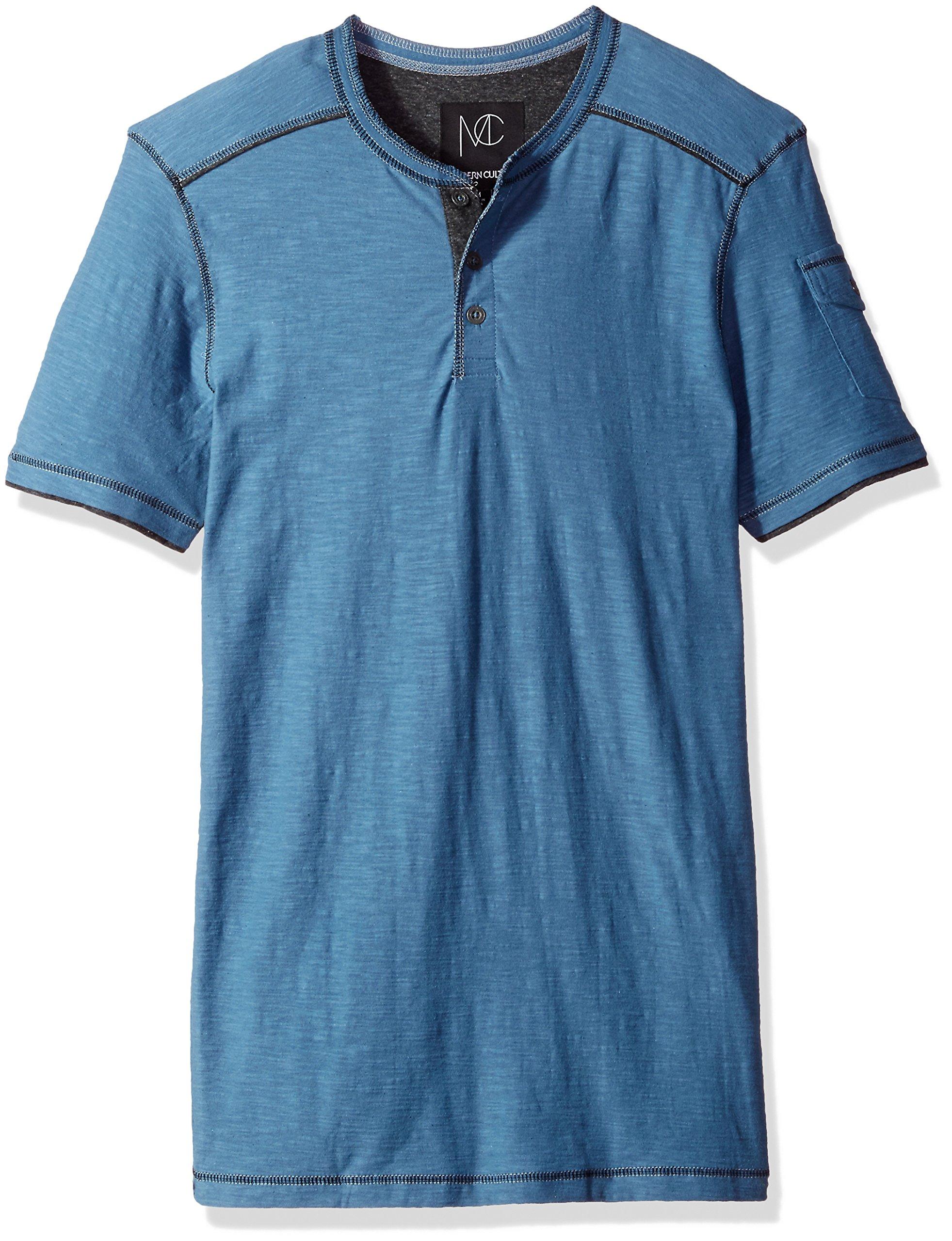 Modern Culture Men's Short Sleeve Henley Shirt, Faded Blue, Small
