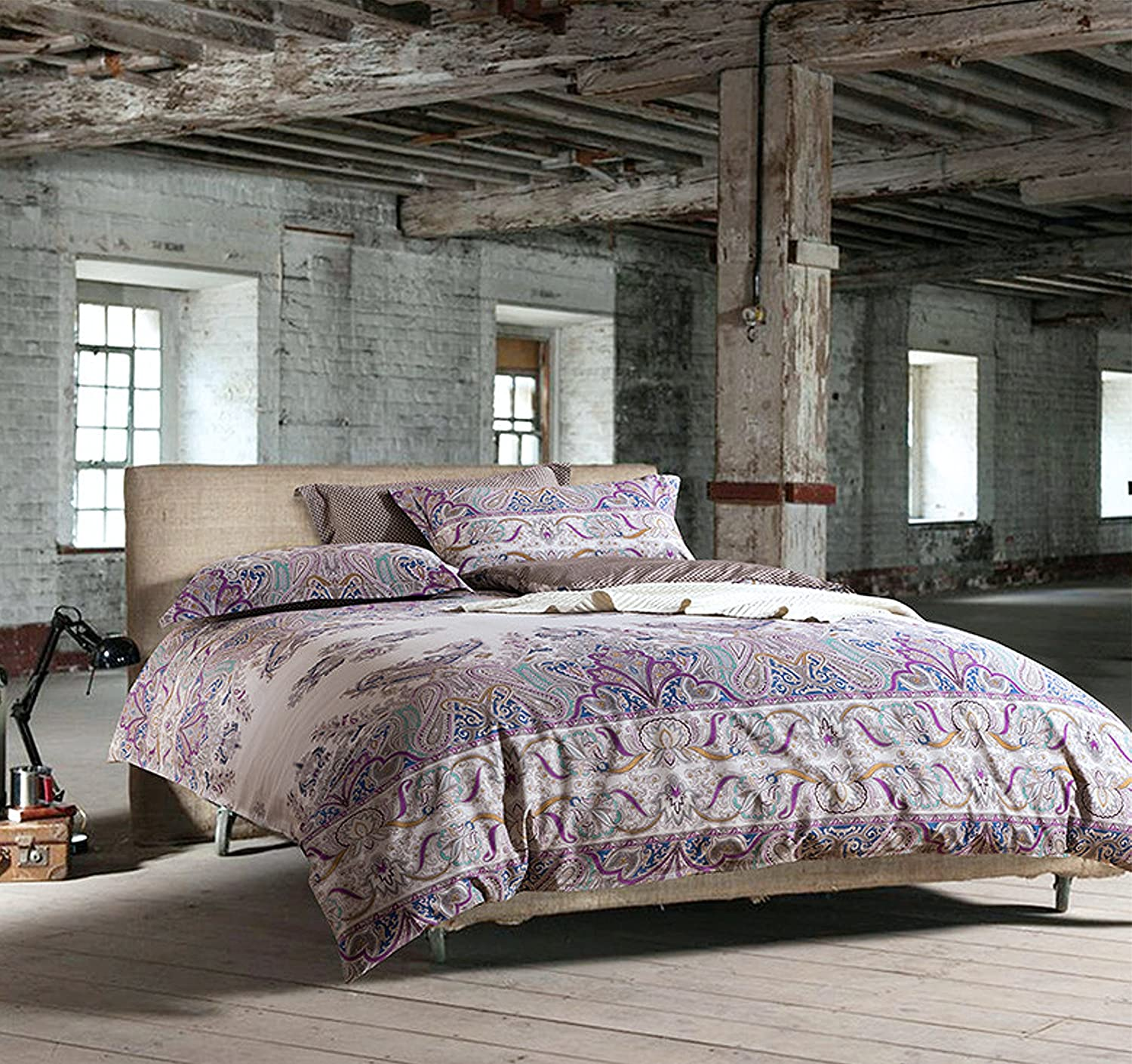 Bohemian Paisley Duvet Quilt Cover Light Purple Boho Chic 100-percent Cotton Bedding Set