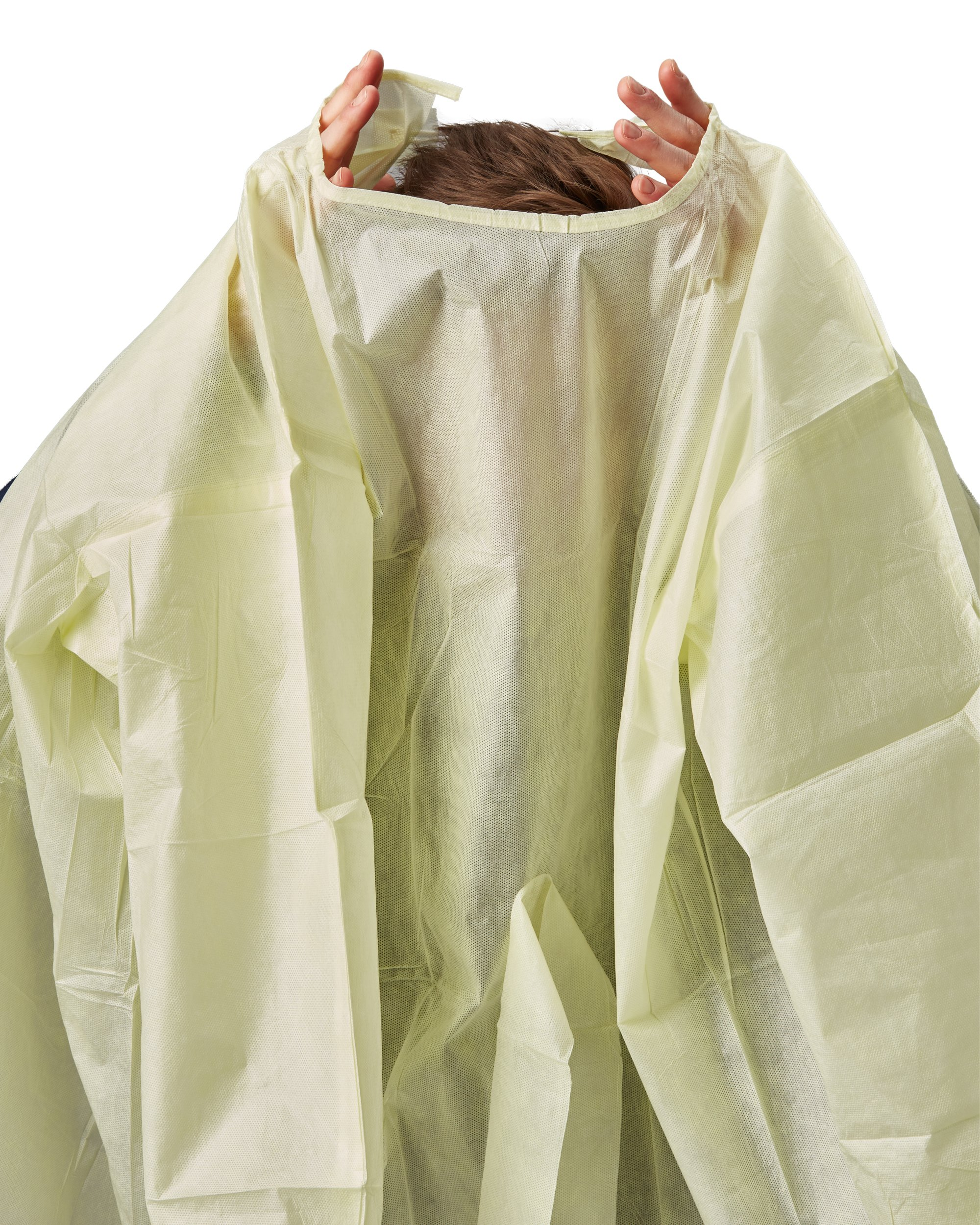 Disposable SMS Polypropylene Isolation Gown, with Elastic cuffs, Breathable, flexible, and fluid resistant. Professional Surgical gowns & Lab Coats. (10 Units, Regular) by AMD Ritmed® (Image #3)