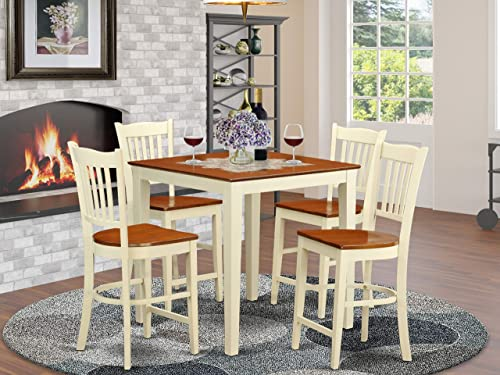 VNGR5-WHI-W 5 PC counter height Table and chair set-pub Table and 4 counter height Chairs