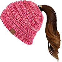 C.C Soft Stretch Cable Knit Messy Bun Ponytail Beanie Winter Hat (MB-816) (Hot Pink Multi(10))