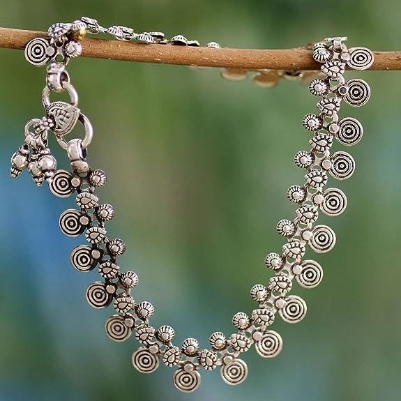 9.75 Jaipur Dancer NOVICA .925 Sterling Silver Spiral Motif Charm Anklet