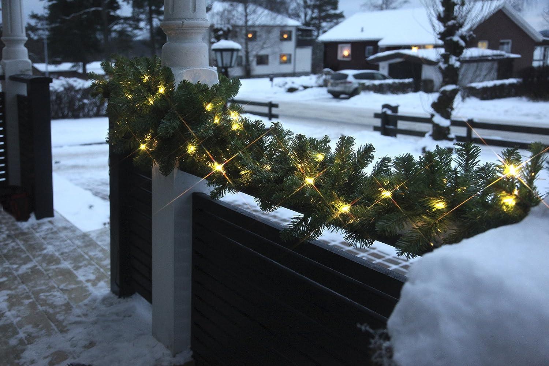 80 LED Tono Bianco Caldo Best Season 612-21 Quebec Colore: Verde Ghirlanda per Albero di Natale in scatole a 4 Colori per Esterni Circa 25 x 500 cm