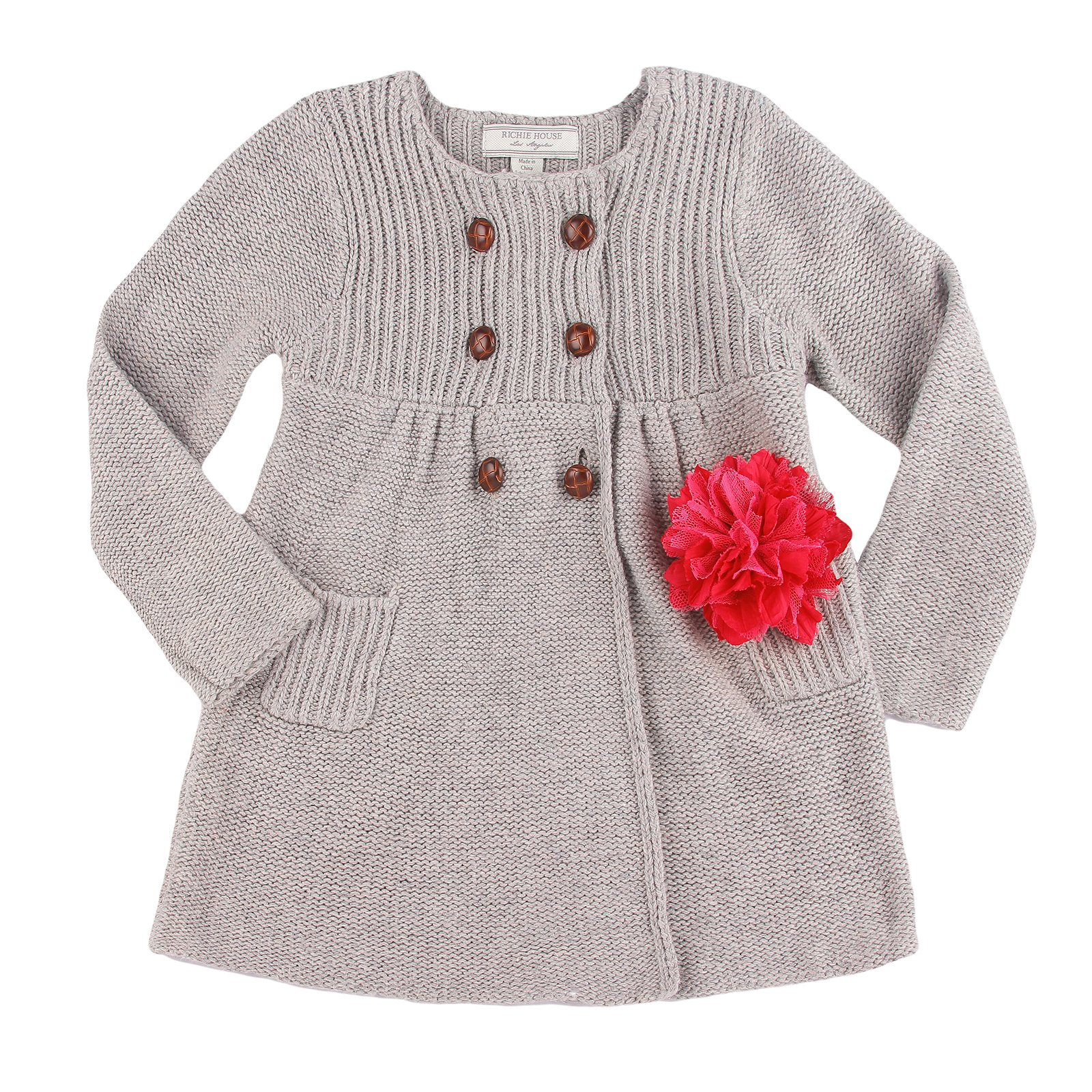 Richie House Girls' Knit Coat with Flower Accessory RH0152-9