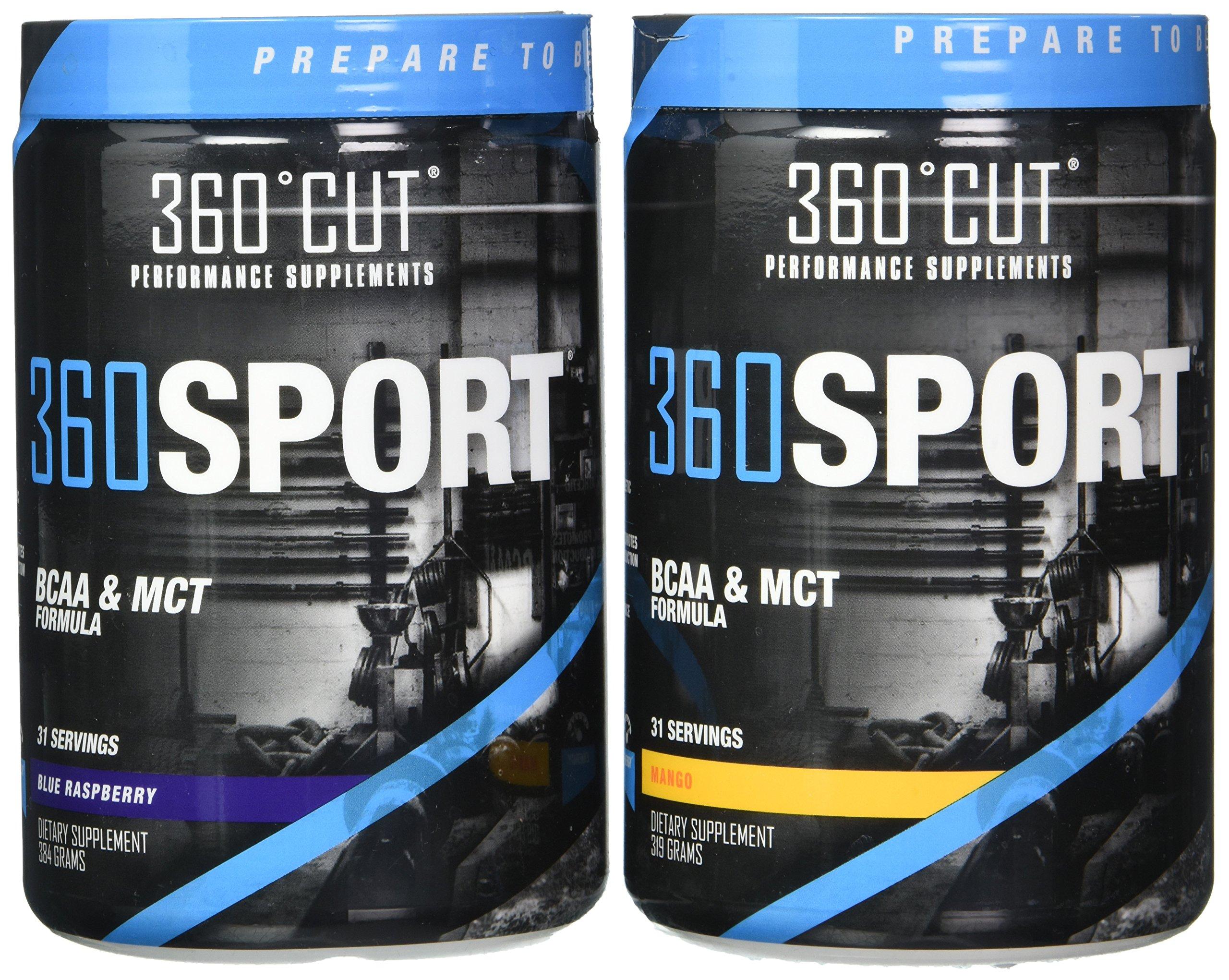 360Cut 360Sport Instantized BCAA and All Natural MCT Oil Formula, Blue Raspberry/Mango, 768 Gram