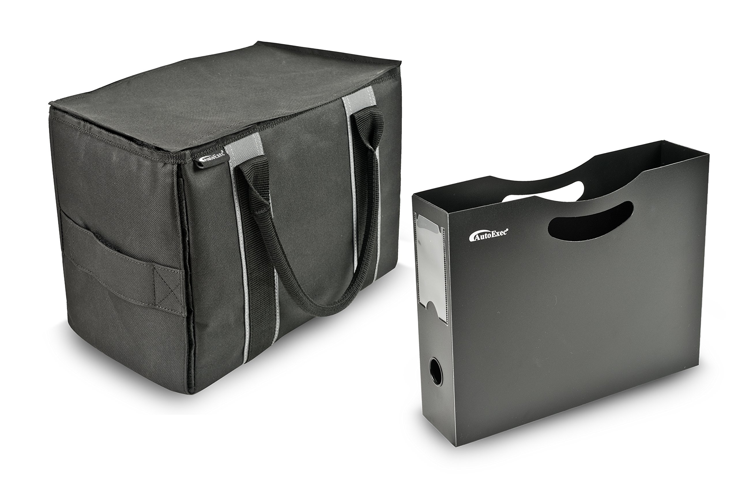 AutoExec AEMTote-03 Black/Grey Mini File Tote with One Hanging File Holder