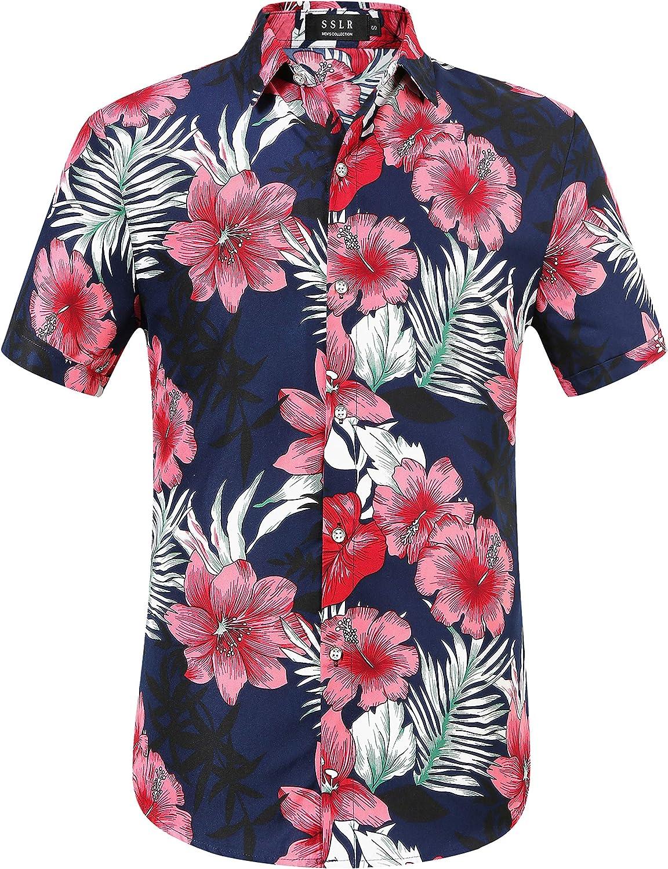 SSLR Men's Printed Casual Button Down Short Sleeve Hawaiian Shirts