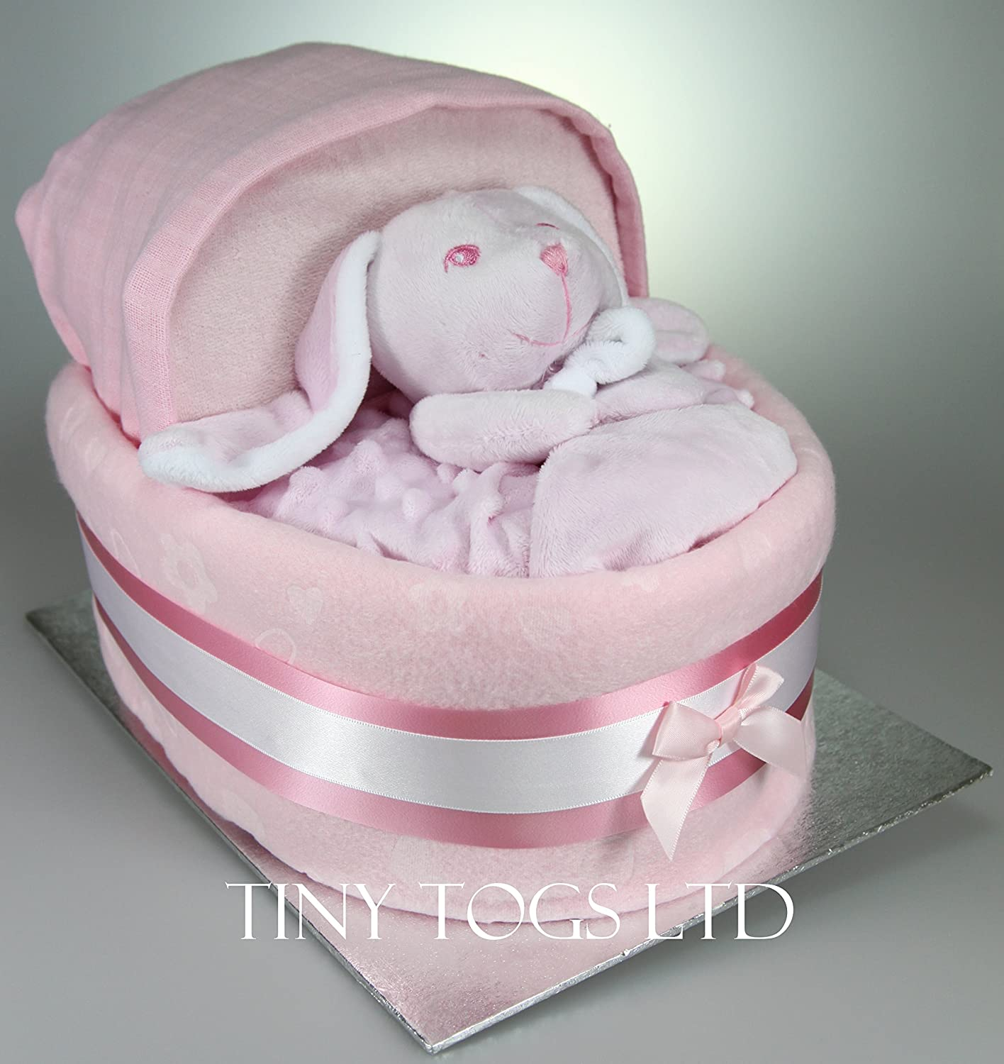 Baby Boy Girl Unisex Nappy Cake Crib Basinet New Baby Shower Gift Present (Blue) Tiny Togs Ltd