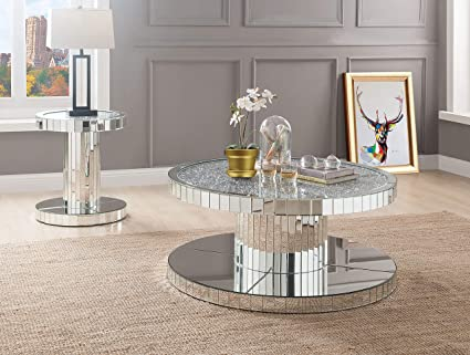 Amazon Com Acme Ornat 40 Round Glass Top Mirrored Coffee Table
