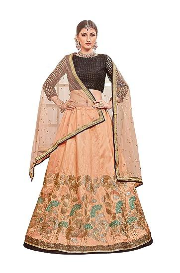 9778c70d6351b MEGHALYA Bridal Collection Embroidered Thai Silk Lehenga choli for  women(Salmon Pink