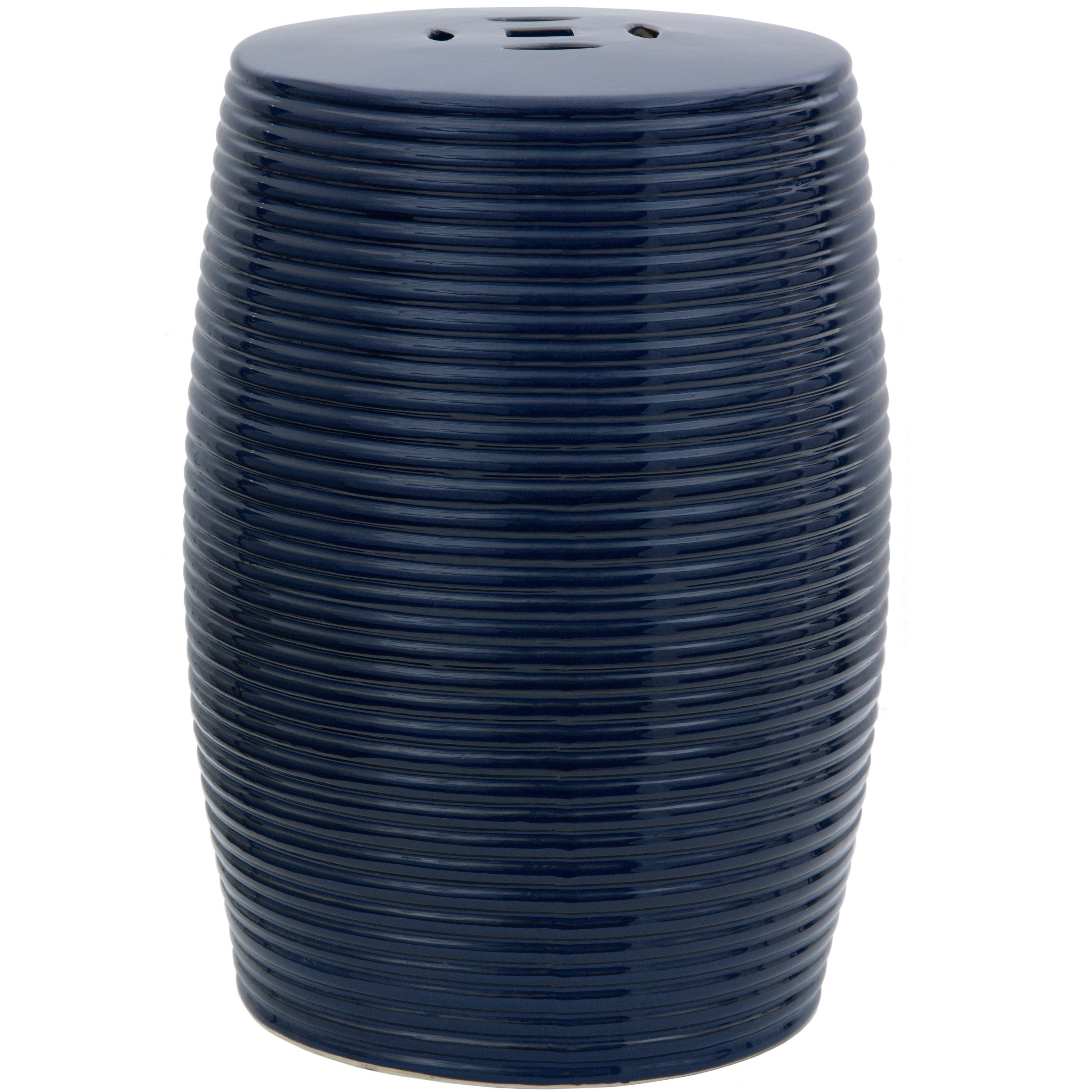 Oriental Furniture 18'' Dark Blue Ribbed Porcelain Garden Stool