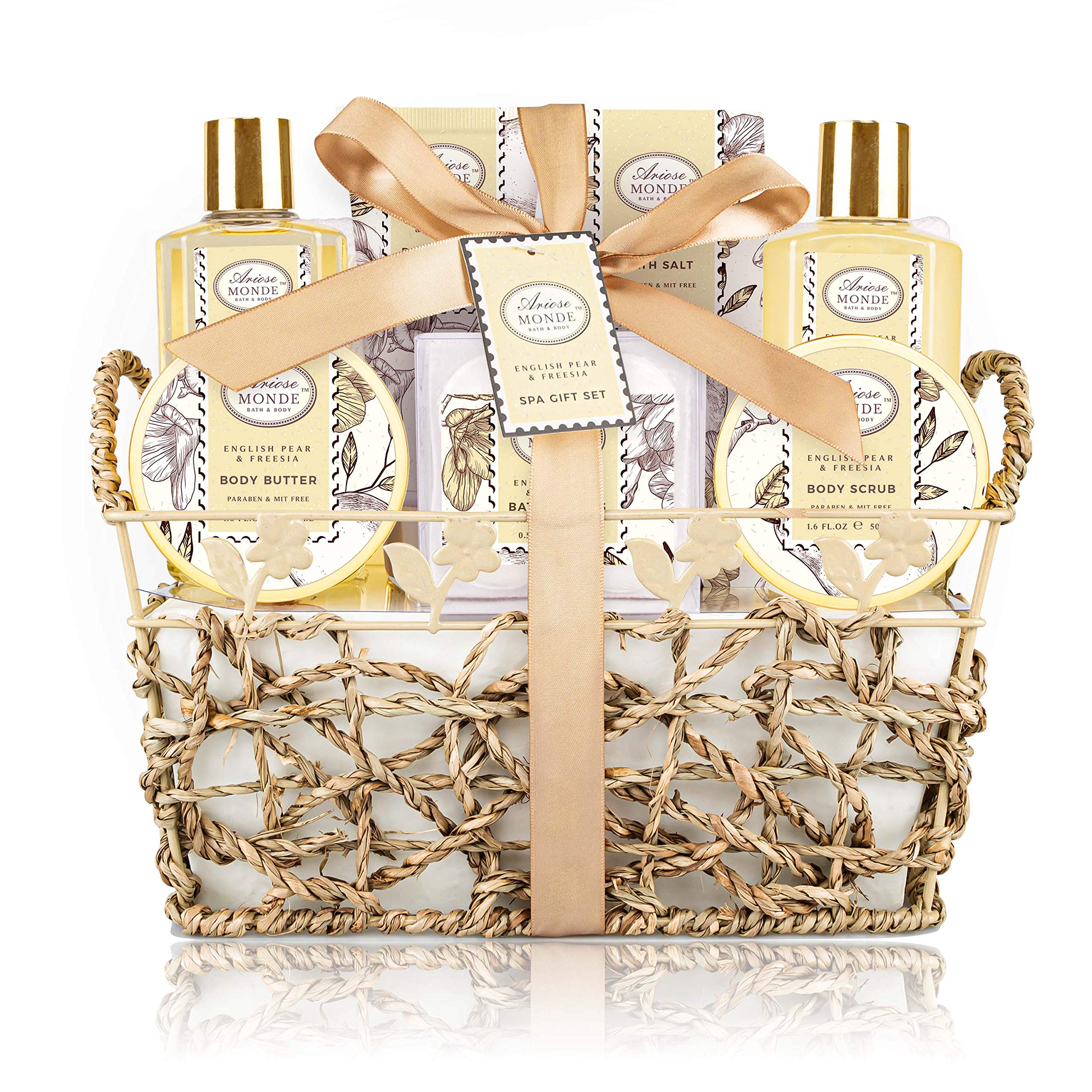 Bath & Shower Spa Gift Basket Set, with English Pear & Freesia Fragrance Bath Gift Basket for Women & Men Includes Body Lotion, Shower Gel, Bath Salts, Bubble Bath, Body Scrub and More, 8 Pcs by ArioseMonde