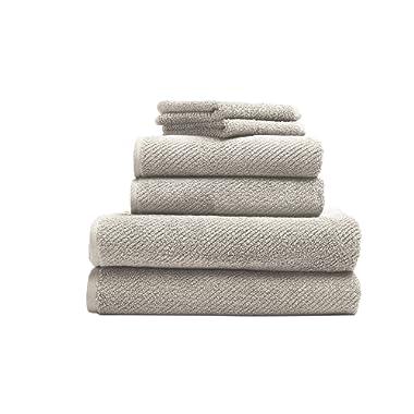 Coyuchi 1019024 6 Piece Organic Air Weight Towel Set, Natural